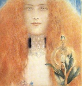 Painting by Fernand Khnopff, Head of a Woman